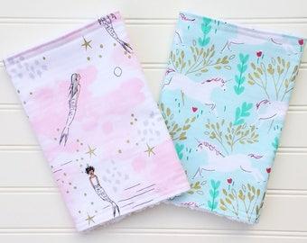 Mermaids and Unicorns Burp Cloths -Chenille Backed