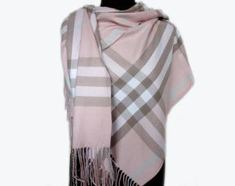 Pink Plaid Scarf, Pashmina Scarf, Checkered Blanket Scarf, Autumn Scarf, Pink Wrap Shawl, Pink Fall Scarf, Women's Scarves
