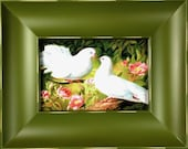 Framed Print - Two Love Bird With Pink Flowers