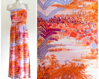 70s strapless maxi dress with orange wetlands scene print