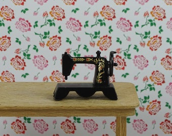 Doll house vintage sewing machine 1970s black gold