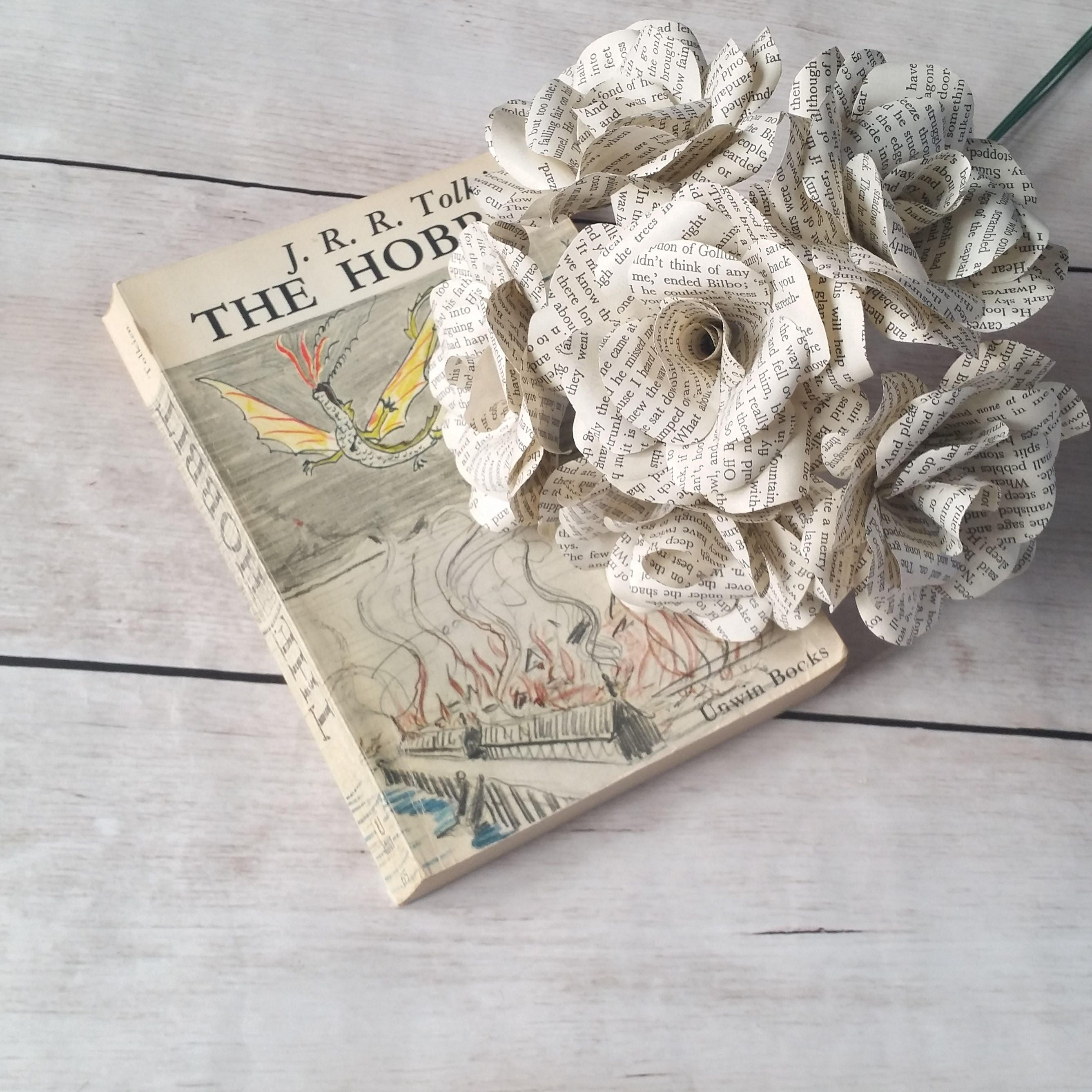 6 x The Hobbit Paper Roses, Book Page Paper Flower Roses, Handmade ...