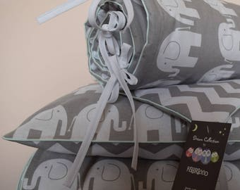 100%COTTON Cot Bed Duvet Cover Set & Bumper  Gray Elephants Chevron Zig Zag Boys Girls  mint piping reversible bedding