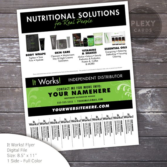 Exceptionnel Black & Green ItWorks Flyer With Tear Off Tabs Digital File LQ96