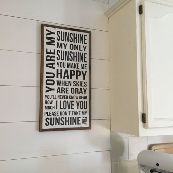 SUNSHINE SIGN 1'x2' | distressed wall decor | painted shabby chic wall plaque | urban industrial farmhouse sign | song art |
