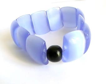 Bracelet blue glass bead and Pearl black wood