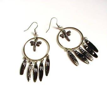 Earrings hoops silver dragonflies