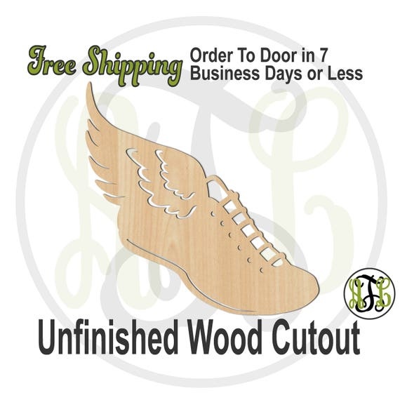 Shoe with Wing- 60049-Sports Cutout, unfinished, wood cutout, wood craft, laser cut shape out, wood cut out, Door Hanger, track, wooden, run