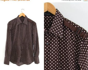 On sale Vintage polka dot shirt. Brown and beige. Long sleeve. Disco. Retro shirt. Cotton shirt. Button up front. Mens shirt.