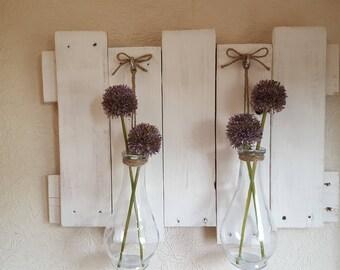 White wooden 3d flower wall art