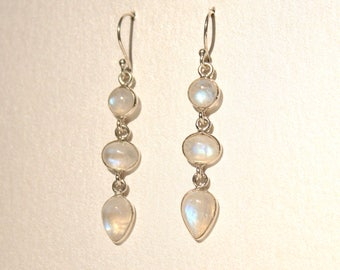 Moonstone Tear Drop Earrings Gemstone Precious White Sterling Silver Long Statement Unique Rare 80s 1980s Semi Light Gift Present