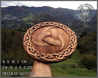 Walknut Viking Home Decor Knotwork Art Norse Thor Odin Wood Picture Pagan Gods Carving Heathen Asatru Celtic Norse Rune Wall Hanging