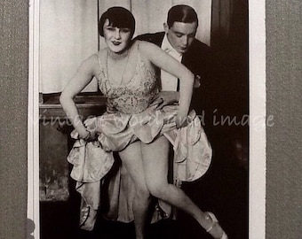 Roaring Twenties Dancers Photo Art Print 1920s Flappers Weird Dancing Vintage Lithograph Book Plate Home Office Decor Black & White