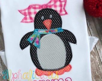 Winter Penguin Girl Applique Design-ZigZag