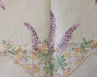 Hand Embroidered Vintage Tablecloth Lupins