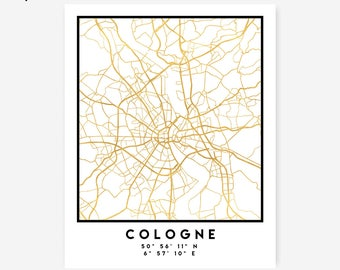 Cologne Map Coordinates Print - Germany City Street Map Art Poster, Gold Cologne Map Print, Cologne Germany Coordinates German Poster Map