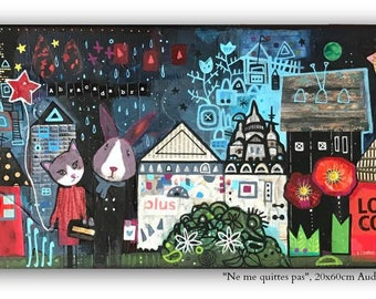 The guests surprise, 20x60cm, mixed media on canvas