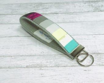 Keychain Keyfob Wristlet Strap - Gray Rainbow Brite Keychain - Key Holder Wrist Strap - Colorful Key Fob