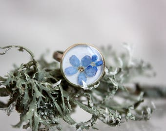Ring terrarium, forget-me-ring, forget-me-not, Ring with forgetmenot ECO epoxy ring. Botanical ring with pressed blue forget-me-nots