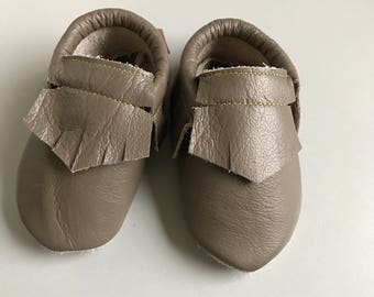 Baby moccasins tan/light brown leather feinge