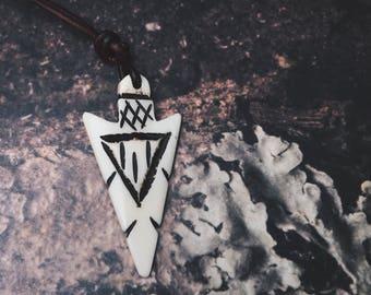 Arrowhead Surfer Necklace - Ox Bone Surfer- Hippie Surfer Necklace - Unisex Surfer- Men's Surfer - Surfer - Hippie jewlery - Beach Jewelry
