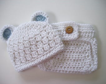 Bear Outfit, Hat and Diaper Cover, Newborn Bear Hat, Baby Boy Hat, Crochet Baby Hat, Newborn Photo Prop, Newborn Boy Hat, Newborn Hat