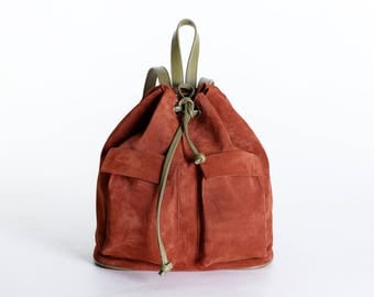 Italian suede leather rust backpack, brick suede backpack, brick backpack women, leather backpack, women backpack, brown leather backpack