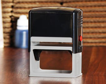 Square Self Inking Rubber Stamp - Personalized/Customized Address Name Stamp for Office, Hospital, School, Garage, Education  - 7538 BLACK