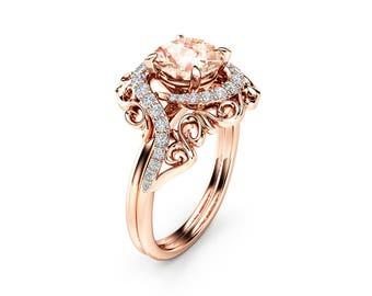 Unique Morganite Engagement Ring 14K Rose Gold Morganite Ring Unique Nature Inspired Engagement Ring