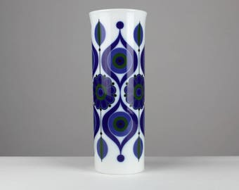 70s Tall vintage porcelain vase by Kaiser, cylindrical shape, blue decor from the 70s, west Germany, Mid Century