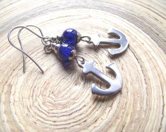 Anchor Earrings stainless Steel Jade Blue Anchor