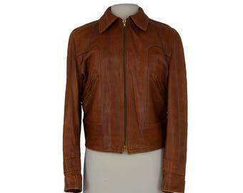 70s Brown Leather Jacket, Brown Bomber Jacket, Flight Jacket, Vintage Mens Leather Jacket, Soft Leather Jacket, Golden Bear, Size Large