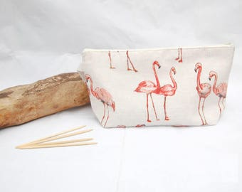 Large project bag for knitting, flamingo bag. crochet project bag, yarn bag, make up bag, work in progress