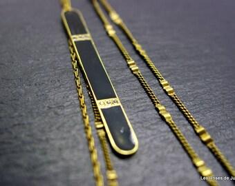 Art deco bronze long necklace, art deco necklace