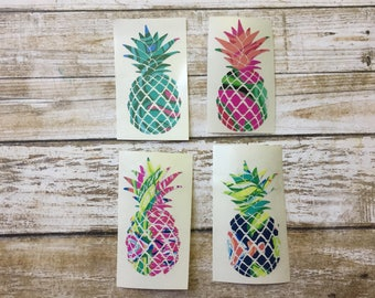 Pineapple Sticker ~ Pattern Pineapple ~ Tumbler Decal ~ Laptop Vinyl ~ Each Decal is Unique