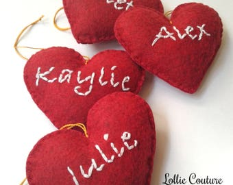 Personalize hearts, Christmas Ornaments, felt hearts, Felt Christmas Decorations, Felt Ornaments, Christmas ornaments, Felt ornaments