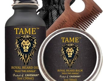 Hand Crafted CavemanTame Beard Oil Set KIT Beard Oil + Balm FREE Limited Edition Comb