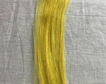 1 piece Yellow fun hair streak Remy human hair Handmade clipin hair extensions highlight streaks MyLuxury1st clip on