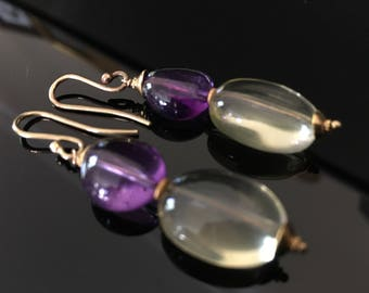 Earrings in 18k gold with Amethyst and Lemon Quartz
