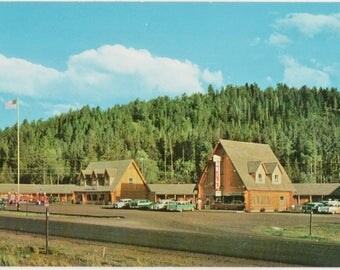 Hatchett Motel  Moran Wyoming  Vintage Color Postcard