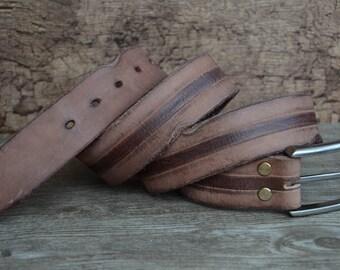 Leather Belt/Mens Belt/Full Grain Belt/Durable Cowhide Belt/Brown/Heavy Duty Belt