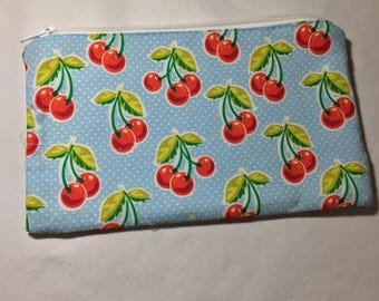 Zipper Bag, Red and Blue Cherry Print Cosmetic Pouch Handmade, Make Up Pouch Coin Purse Small Monogrammed Makeup Bag