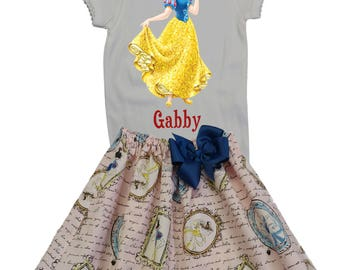 Girl outfit Girl Snow White birthday outfit Girl name age Snow White outfit, baby outfit Girl Snow White outfit Girl clothing skirt shirt