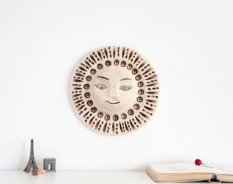 3D Wall Art Ceramic Sun Sculpture Wall Mask Decor Goddess Sculpture; Home  Living Room Decoration