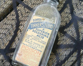 Vintage glass poison bottle tinners fluid acid