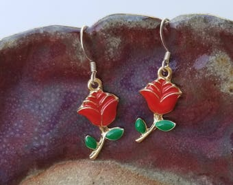 Red Rose Earrings, Two Tone Enameled Rose Earrings, Red Roses, Gold Tone, Silver Tone, Red, Rose Buds, Flowers, Floral Earrings, Garden