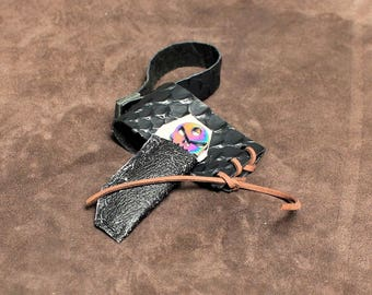 Holster for drinking horn, attaches to belt, with skull bottle opener attached, small size