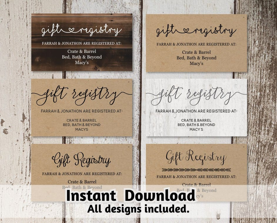 Wedding Registry Invitation: Printable Wedding Registry Card Template