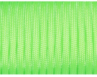 30 feet of Paracord 4mm Neon Green ideal for survival bracelets