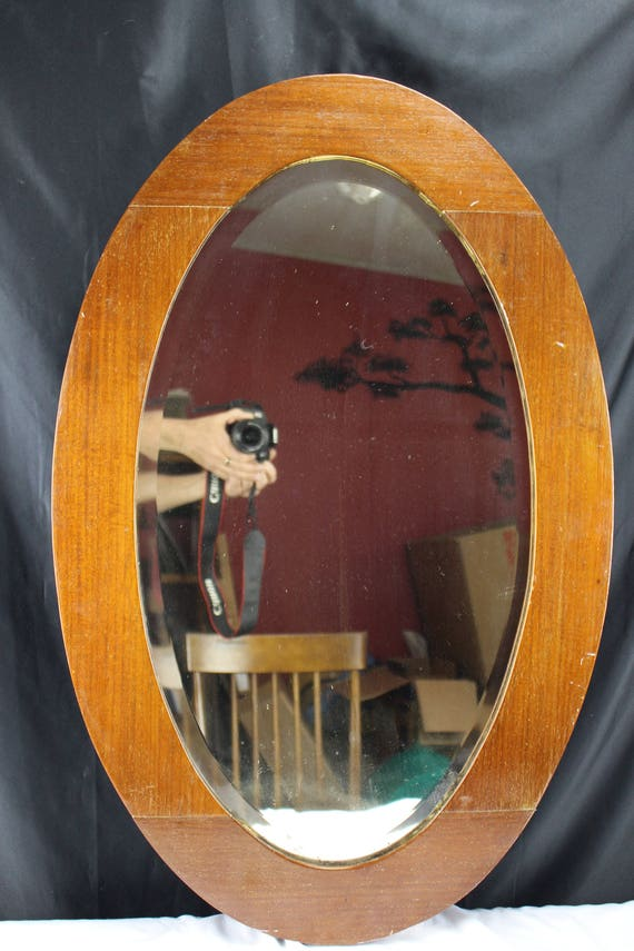 1902 Antique Oval Beveled Edge Mirror with Oak Frame Made in USA